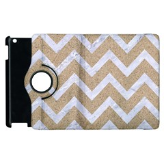 Chevron9 White Marble & Sand Apple Ipad 3/4 Flip 360 Case by trendistuff
