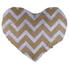 Chevron9 White Marble & Sand Large 19  Premium Heart Shape Cushions by trendistuff