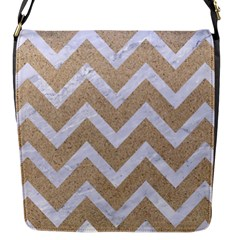 Chevron9 White Marble & Sand Flap Messenger Bag (s) by trendistuff