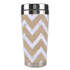 Chevron9 White Marble & Sand Stainless Steel Travel Tumblers by trendistuff