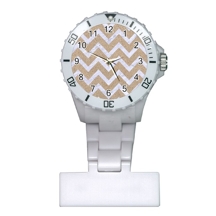 CHEVRON9 WHITE MARBLE & SAND Plastic Nurses Watch