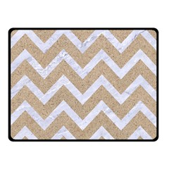 Chevron9 White Marble & Sand Double Sided Fleece Blanket (small)  by trendistuff