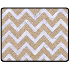 Chevron9 White Marble & Sand Double Sided Fleece Blanket (medium)  by trendistuff