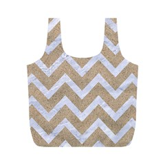 Chevron9 White Marble & Sand Full Print Recycle Bags (m)  by trendistuff
