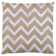 Chevron9 White Marble & Sand Large Flano Cushion Case (one Side)