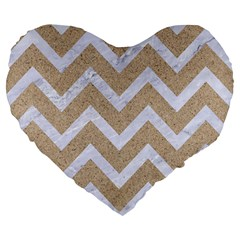 Chevron9 White Marble & Sand Large 19  Premium Flano Heart Shape Cushions by trendistuff