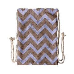 Chevron9 White Marble & Sand Drawstring Bag (small) by trendistuff