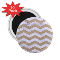 Chevron3 White Marble & Sand 2 25  Magnets (10 Pack)
