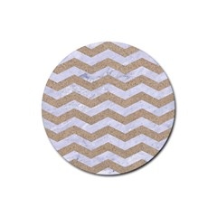 Chevron3 White Marble & Sand Rubber Round Coaster (4 Pack)  by trendistuff