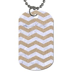 Chevron3 White Marble & Sand Dog Tag (one Side) by trendistuff