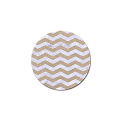 Chevron3 White Marble & Sand Golf Ball Marker