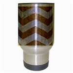 CHEVRON3 WHITE MARBLE & SAND Travel Mug (Silver Gray) Center