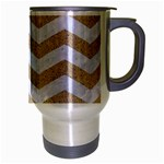 CHEVRON3 WHITE MARBLE & SAND Travel Mug (Silver Gray) Right