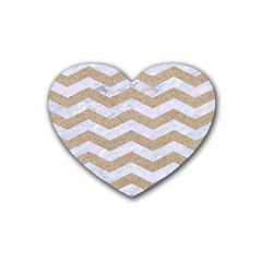 Chevron3 White Marble & Sand Heart Coaster (4 Pack)  by trendistuff
