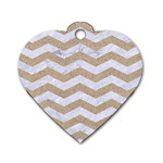 CHEVRON3 WHITE MARBLE & SAND Dog Tag Heart (One Side) Front