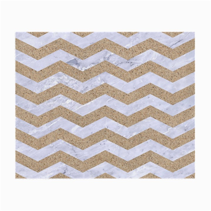 CHEVRON3 WHITE MARBLE & SAND Small Glasses Cloth (2-Side)