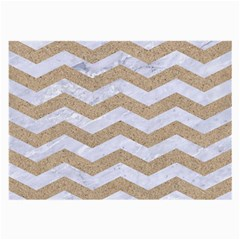 Chevron3 White Marble & Sand Large Glasses Cloth (2 Side)