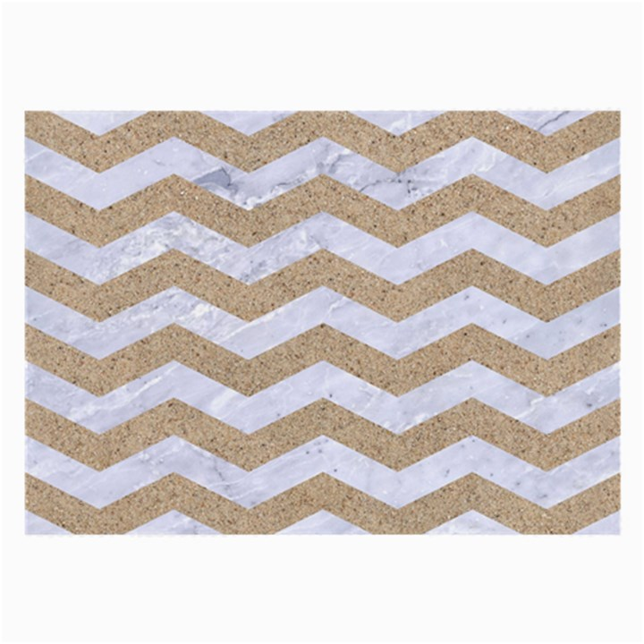 CHEVRON3 WHITE MARBLE & SAND Large Glasses Cloth (2-Side)