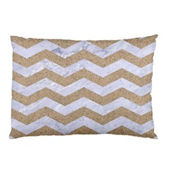 Chevron3 White Marble & Sand Pillow Case