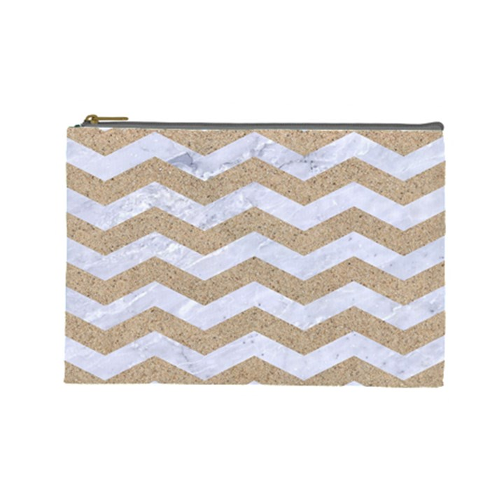 CHEVRON3 WHITE MARBLE & SAND Cosmetic Bag (Large)