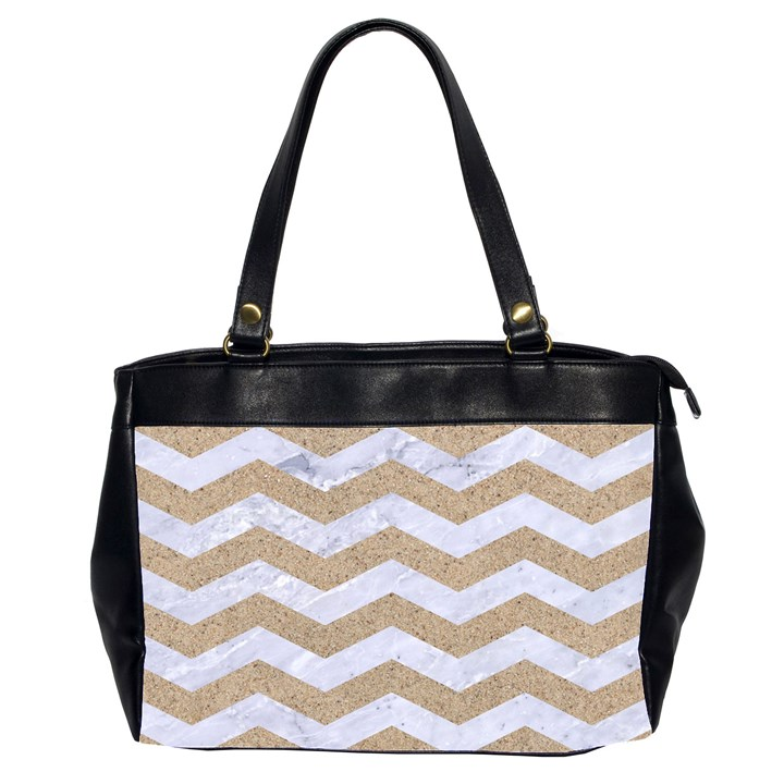 CHEVRON3 WHITE MARBLE & SAND Office Handbags (2 Sides)