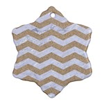 CHEVRON3 WHITE MARBLE & SAND Snowflake Ornament (Two Sides) Front