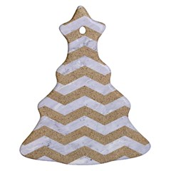 Chevron3 White Marble & Sand Christmas Tree Ornament (two Sides)