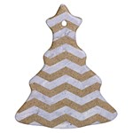 CHEVRON3 WHITE MARBLE & SAND Christmas Tree Ornament (Two Sides) Front