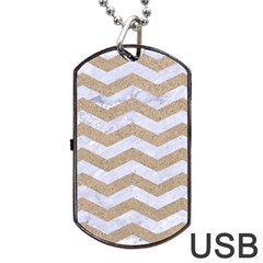 Chevron3 White Marble & Sand Dog Tag Usb Flash (one Side)