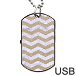 CHEVRON3 WHITE MARBLE & SAND Dog Tag USB Flash (One Side) Front