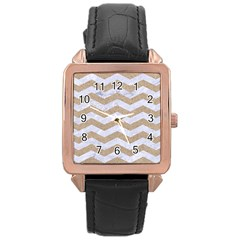 Chevron3 White Marble & Sand Rose Gold Leather Watch