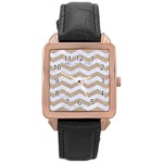 CHEVRON3 WHITE MARBLE & SAND Rose Gold Leather Watch  Front