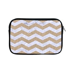 Chevron3 White Marble & Sand Apple Ipad Mini Zipper Cases by trendistuff