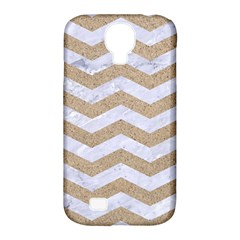 Chevron3 White Marble & Sand Samsung Galaxy S4 Classic Hardshell Case (pc+silicone)