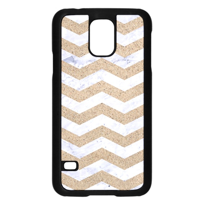 CHEVRON3 WHITE MARBLE & SAND Samsung Galaxy S5 Case (Black)