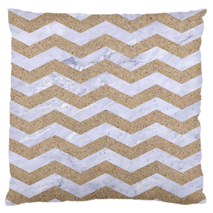 CHEVRON3 WHITE MARBLE & SAND Standard Flano Cushion Case (One Side)