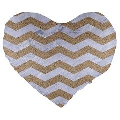 Chevron3 White Marble & Sand Large 19  Premium Flano Heart Shape Cushions by trendistuff