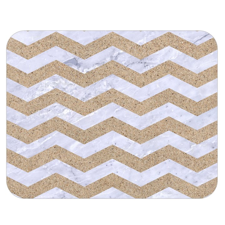 CHEVRON3 WHITE MARBLE & SAND Double Sided Flano Blanket (Medium)