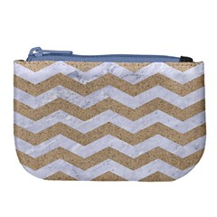 Chevron3 White Marble & Sand Large Coin Purse