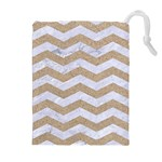 CHEVRON3 WHITE MARBLE & SAND Drawstring Pouches (Extra Large) Front