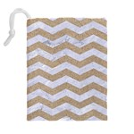 CHEVRON3 WHITE MARBLE & SAND Drawstring Pouches (Extra Large) Back