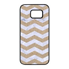 Chevron3 White Marble & Sand Samsung Galaxy S7 Edge Black Seamless Case by trendistuff
