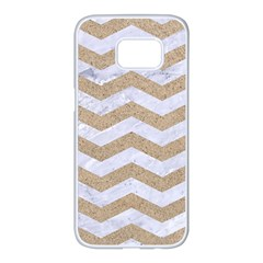 Chevron3 White Marble & Sand Samsung Galaxy S7 Edge White Seamless Case by trendistuff