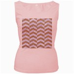 CHEVRON2 WHITE MARBLE & SAND Women s Pink Tank Top Front