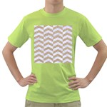 CHEVRON2 WHITE MARBLE & SAND Green T-Shirt Front