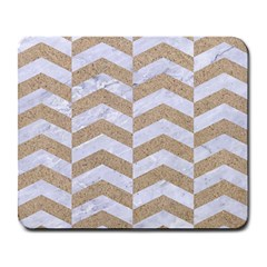 Chevron2 White Marble & Sand Large Mousepads by trendistuff