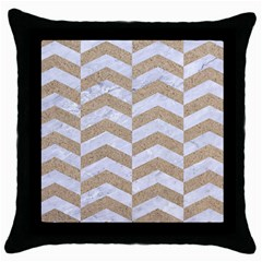 Chevron2 White Marble & Sand Throw Pillow Case (black)