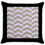 CHEVRON2 WHITE MARBLE & SAND Throw Pillow Case (Black) Front