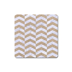Chevron2 White Marble & Sand Square Magnet by trendistuff