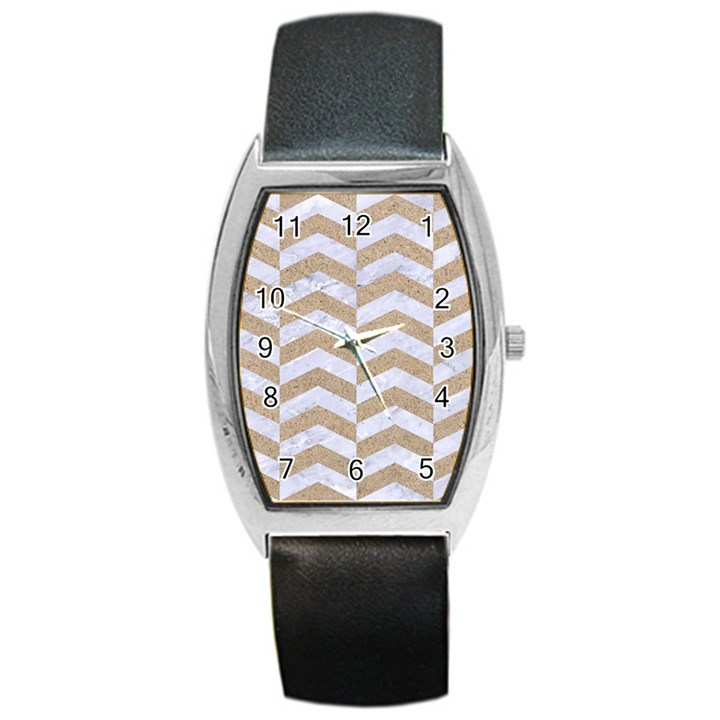 CHEVRON2 WHITE MARBLE & SAND Barrel Style Metal Watch